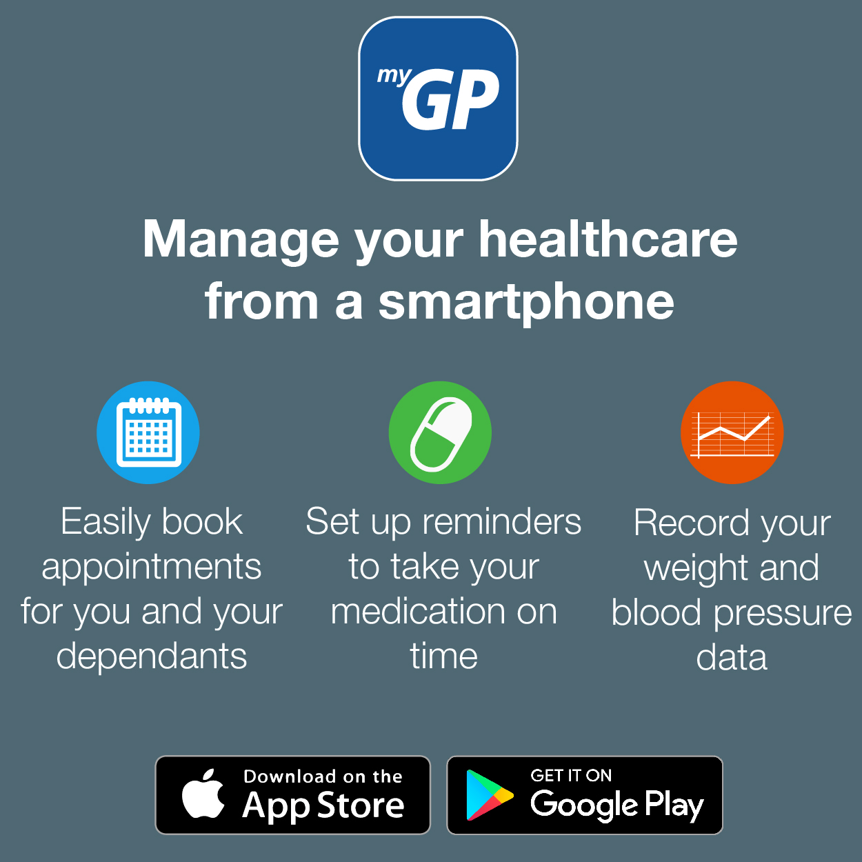 Manage your healthcare from a smartphone.  Easily book appointments for you and your dependants.  Set up reminders to take your medication on time.  Record your weight and blood pressure data